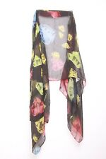 Bejeweled red yellow blue graphic diamond print unique black neck scarf(s23)