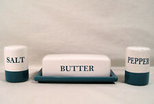 Kitchen White & Teal Blue Green Butter Dish, Salt & Pepper Shakers by Main Stay