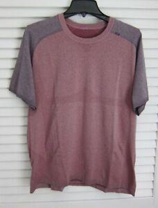 Mens Lululemon Metal Vent Tech SS Shirt Black Cherry Two Tone Baseball XL XXL