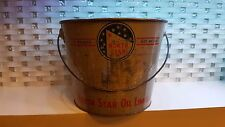 North Star Oil Limited 10 pounds Grease Can Tin Bucket Blue Stars Canada Handle