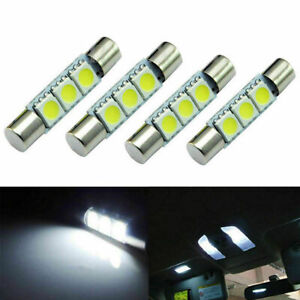 4PCS HID White 3-SMD 31mm 5050 LED Dome Bulbs Vanity Mirror Sun Visor Light Lamp