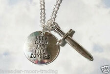"KEEP CALM & KILL ZOMBIES & DAGGER PENDANT/NECKLACE with silver plated 18"" CHAIN"