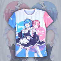 Anime Re Zero Rem Ram T-Shirt Full Print Unisex Casual Short Sleeve Tee Tops