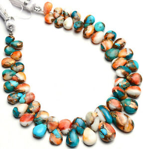 """Natural Gem Oyster Copper Turquoise 6x4 to 13x7mm Smooth Pear Shape Beads 7.5"""""""