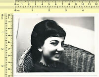#028 1960s Woman Creepy Smile Abstract Portrait, Beehive Hair Lady vintage photo
