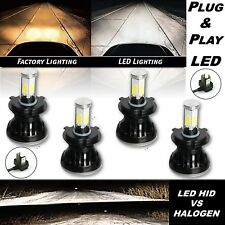 H4 HID SMD COB LED Low/Hi Beam Headlight Light Bulb 6000K 4000LM Set of 4 5-3/4""