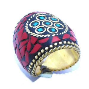 Coral & Turquoise Stone Tibetan Jewelry Nepal Handmade Golden Ring Size 7 NEP813