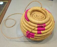 Northwest Coast Native American Coil Basket w/Lid & Hanging Cord Magenta Fuschia