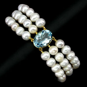 Oval Sky Blue Topaz 18x13mm Pearl 925 Sterling Silver Bracelet 8.5 Inches