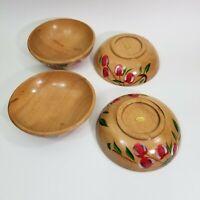 Vintage MCM  Hand-Painted Cherries Wooden Salad Snack Nut Bowls 1950's JAPAN