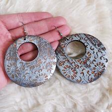 Vintage Womens Antique Bohemians Wooden Flower Patterned Charm Dangle Earrings