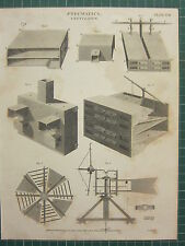 1817 DATED ANTIQUE PRINT ~ PNEUMATICS VENTILATOR VARIOUS