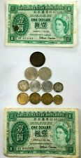 13pcs HONG KONG BANKNOTES & COIN COLLECTION DOLLAR 1 5 10 CENTS 1924-1958  O30B