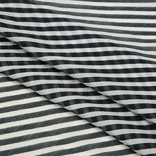 Australlian Stock White Black Striped Print Silk Cotton Fabric per Metre K95-4
