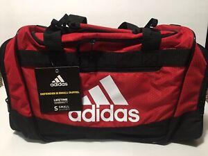 adidas Defender III Small Duffel Bag Travel Gym Red Black NEW! 5144015