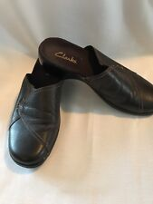 Clarks Sz 8 Brown Leather Slip On Clogs Women's Shoes Mules comfort *(