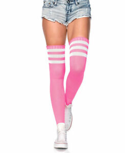 New Leg Avenue 6605 Neon Pink Athletic Ribbed Thigh High Stockings