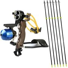 High Velocity Pro Hunting Slingshot Fishing Reel Catapult + 6x Bowfishing Arrows