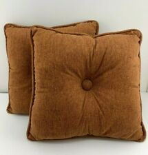 Rust Orange Tufted Accent Bed Throw Breakfast Pillow Square 16x16 Two Tone