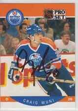 Autographed 90/91 Pro Set Craig Muni - Oilers