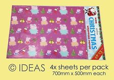 Peppa Pig Kids Christmas Quality Wrapping Paper 4 x Sheets Xmas Children's TV