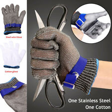 1pair Safety Cut Proof Stab Resistant Stainless Steel Metal Mesh Butcher Glove