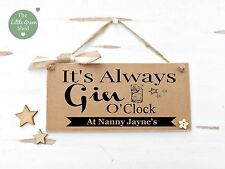 GIN O'CLOCK PLAQUE SIGN PERSONALISED FUN GIFT VINTAGE STYLE