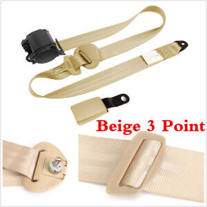 Beige 3 Point Car Safety Seat Belts Lap Safety Belt With Curved Rigid Buckle Kit