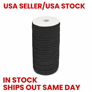 "NEW Black Elastic Cord String Band 1/4"" 6mm - 311 Ft Roll - STOCK IN USA"