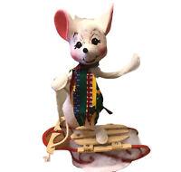 Annalee Mobilitee Christmas Mouse Sledding White Mouse USA Vtg Metal Wood Sled