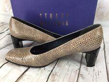 Stuart Weitzman Natual Diamondback Gray Snake Embossed Leather Pumps SZ 7.5M