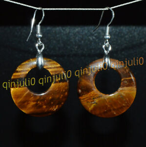Natural Yellow Tigers Eye 28mm Hollow Round Ring Gems Dangle Silver Hook Earring