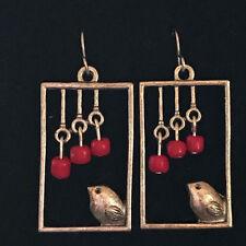 Silver Bird in Window Handmade Earrings with Red Czech Glass Beads