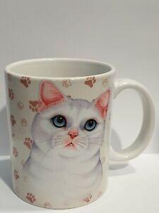 Cat White Cup Mug Coffee Cup Pet Porcelain Present Deco