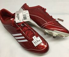 Adidas MENS 12 M Adizero Diamond King Red Shiny Lace Up BASEBALL CLEATS New!