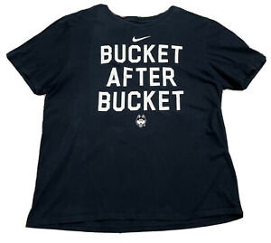NIKE UConn Huskies Bucket After Bucket Men's XL Basketball T Shirt Black Tee