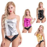 Women Shiny Leather Vest Top Spaghetti Straps Camisole Yoga Jazz Hip Hop Costume