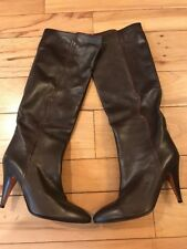 NEW CASADEI Women Boots Brown Leather Heels SIZE 38 US 7.5 Narrow