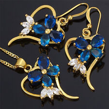 Christmas Gift Brass Set Blue Sapphire Pear Cut Necklace Pendant Earrings(Y)