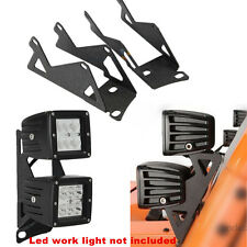 07-17 Jeep Wrangler JK Windshield A-Pillar Mount Brackets for Dual LED Lights