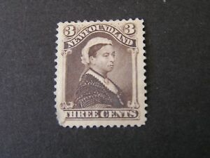 NEWFOUNDLAND, SCOTT # 51, 3c. VALUE UMBER BROWN 1887 QUEEN VICTORIA ISSUE MH