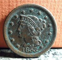 Very Nice Better Grade 1853 Braided Hair Large Cent