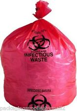 "15 Gallon Red Biohazard Waste Bags High Density 24"" x 30"" Box of 500"