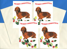 DACHSHUND LONGHAIRED PACK OF 4 CARDS DOG PRINT GREETING CHRISTMAS CARDS