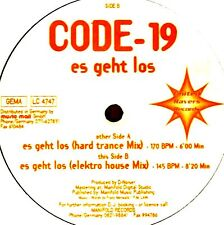 "12"" - CODE-19 - ES GEHT LOS (TECHNO TRANCE) USED ON STORE *LISTEN"