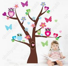 Owl Hoot Butterfly Flower Heart Tree Wall Decals Stickers Decor kids baby Mural