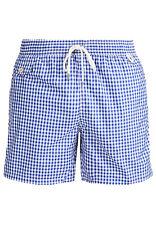 RALPH LAUREN Traveler Blue Gingham Beach Shorts with Orange Logo Size:M-2XL.BNWT
