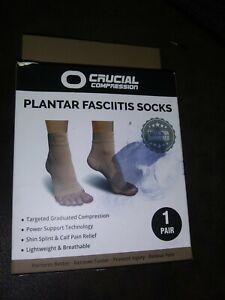 Crucial Compression Plantar Fasciitis Socks Size L/XL Beige, 1 Pair Unisex