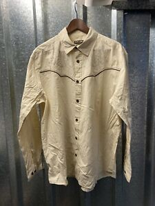 Atlas for Men Vintage Brown Button Down Long Sleeve Western Shirt Size X Large