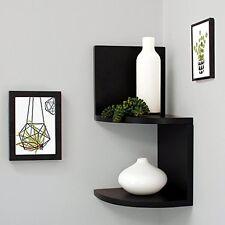 2 Tier Corner Shelves Hanging Home Wall Mount Storage Shelf Zig Zag Decor Black